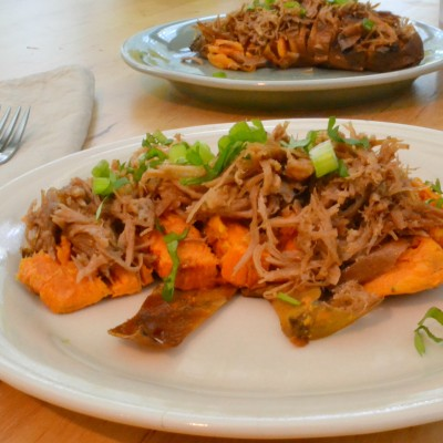 Hasselback Sweet Potatoes with Kalua Pig