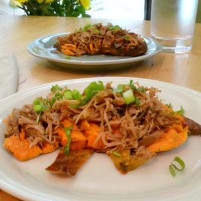 Hasselback Sweet Potatoes Topped with Kalua Pig