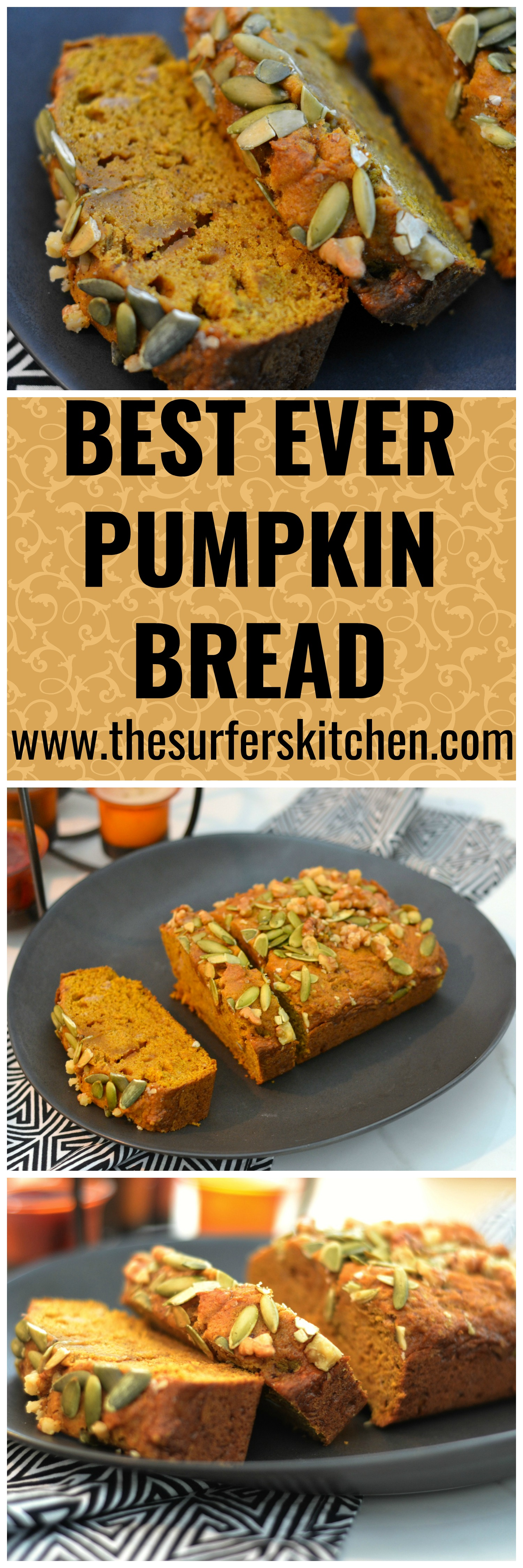 Best Ever Pumpkin Bread that rivals that of Starbucks and other bakeries. Not too spicy, not too sweet. Just perfect. Enjoy!   www.thesurferskitchen.com