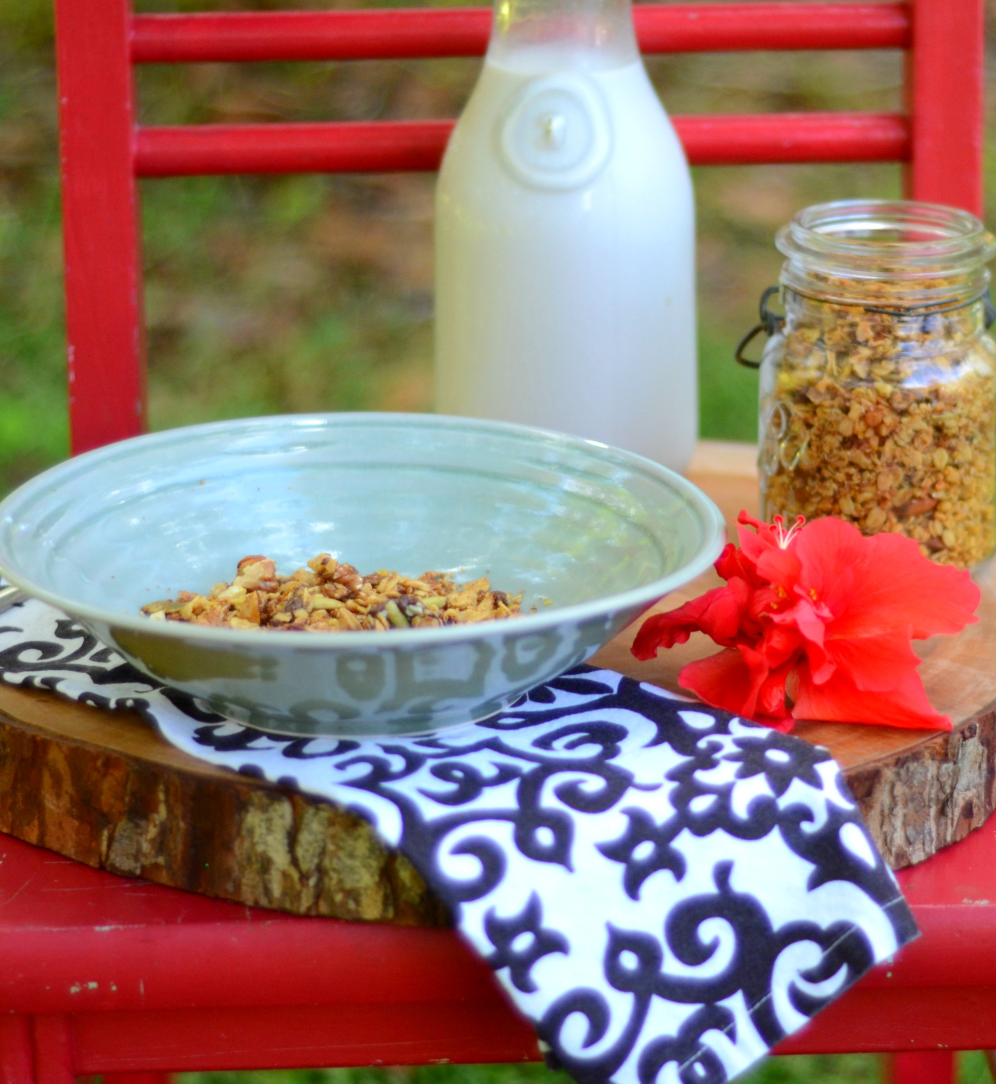 Cashew Butter and Chocolate Granola has to be one of our favorites. I make this at least once a week and it goes fast.   www.thesurferskitchen.com