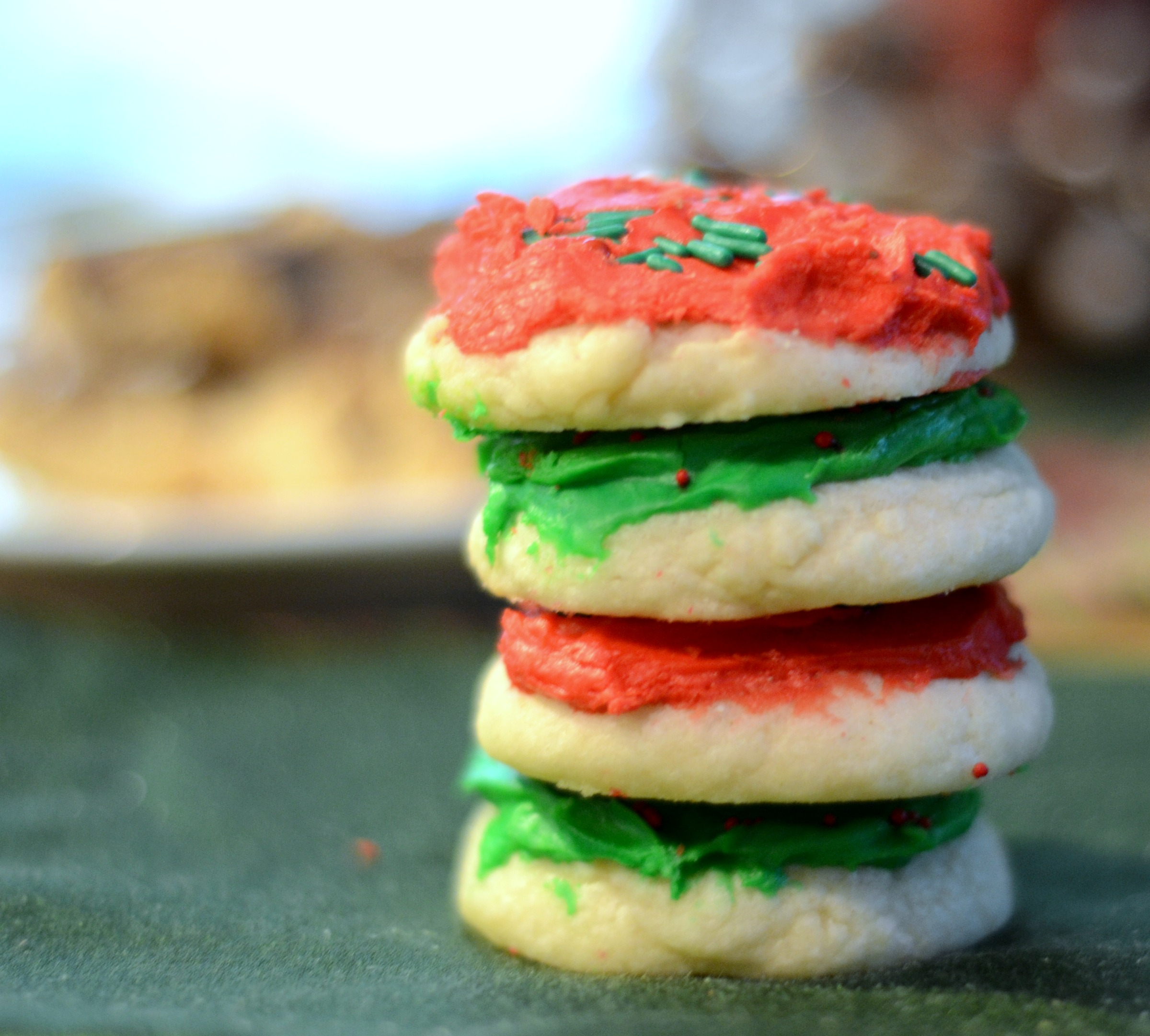 a stack of red and green soft sugar cookies