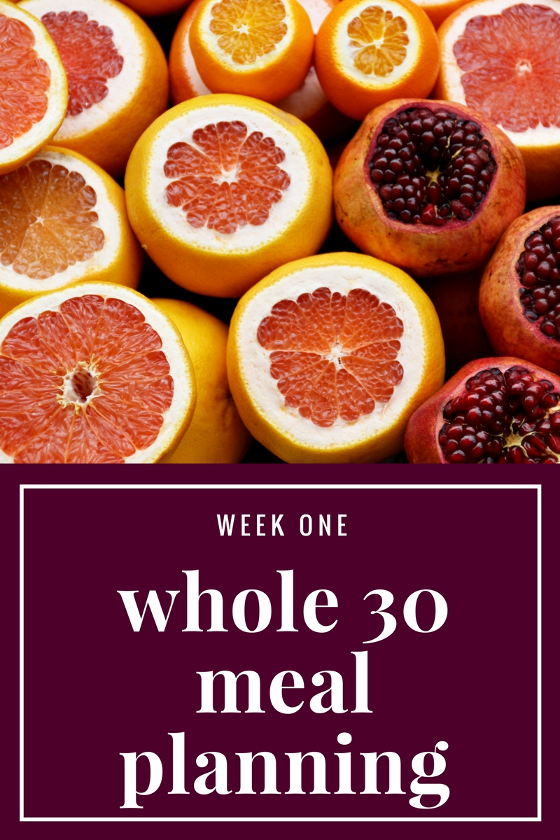 Whole 30 Meal Planning, Week 1