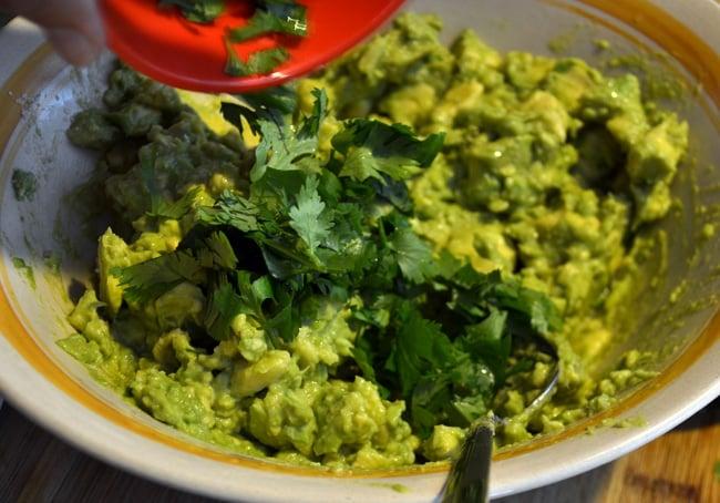 guacamole with cilantro
