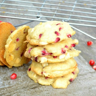 White Chocolate Pomegranate Cookies