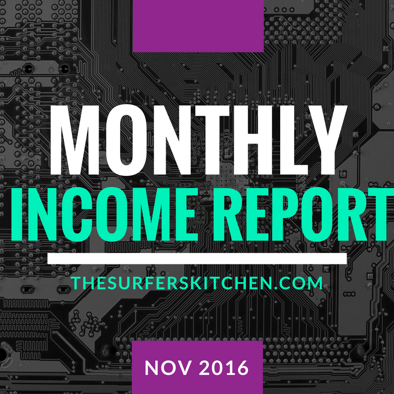 monthly income report november 2016