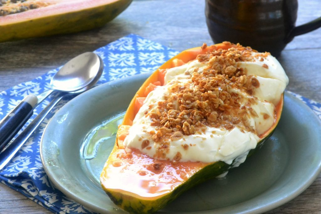 Yogurt Parfait in a Papaya Bowl| A simple light meal perfect for breakfast or a snack.