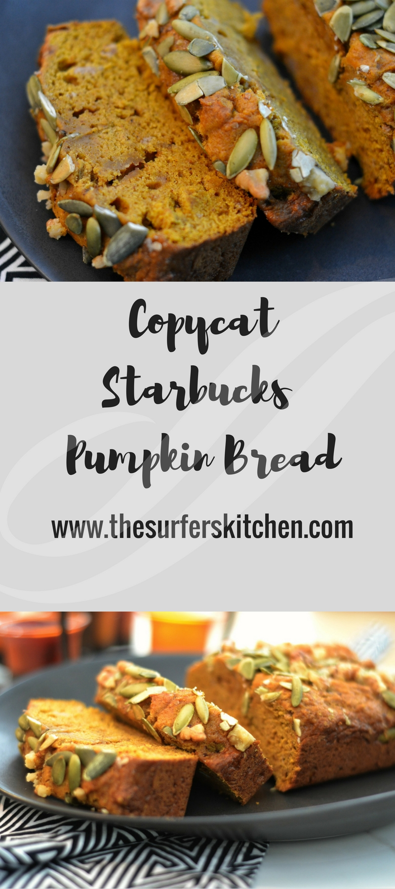 Pumpkin Bread Recipe that rivals Starbucks. Topped with pepitas and walnuts. Yum! | www.thesurferskitchen.com