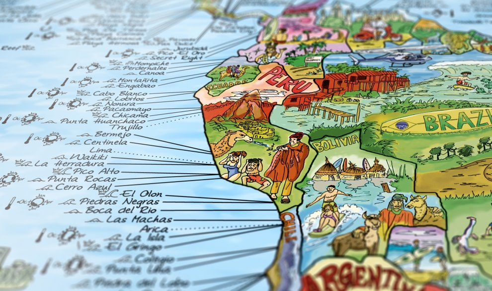 Great gift ideas for surfers| The Awesome Maps Surf Trip Map will look good on any surfers wall and will inspire them to travel the world to find more waves. | www.thesurferskitchen.com