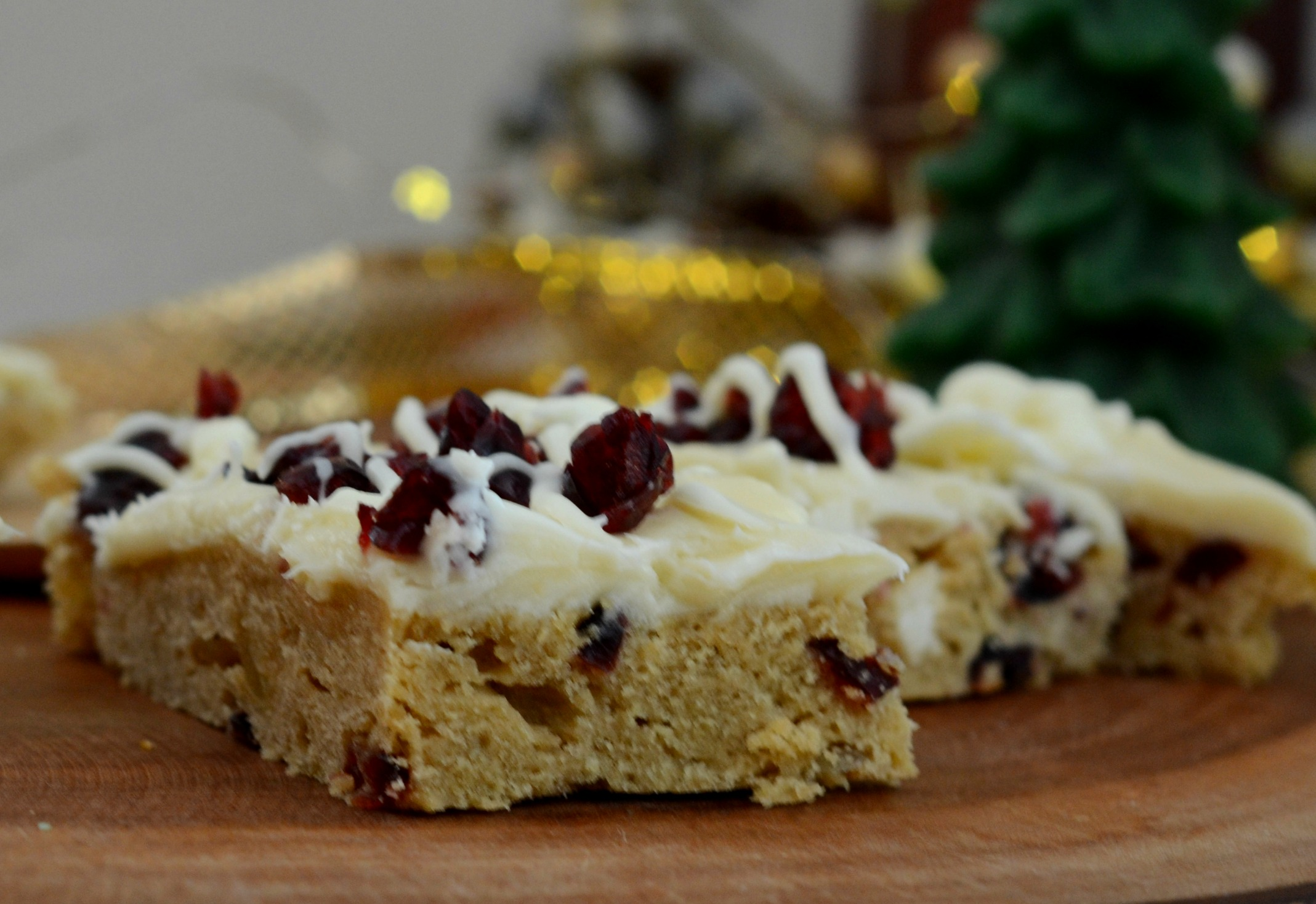 Close Up of Cranberry Bliss Bar with Cream Cheese Frosting