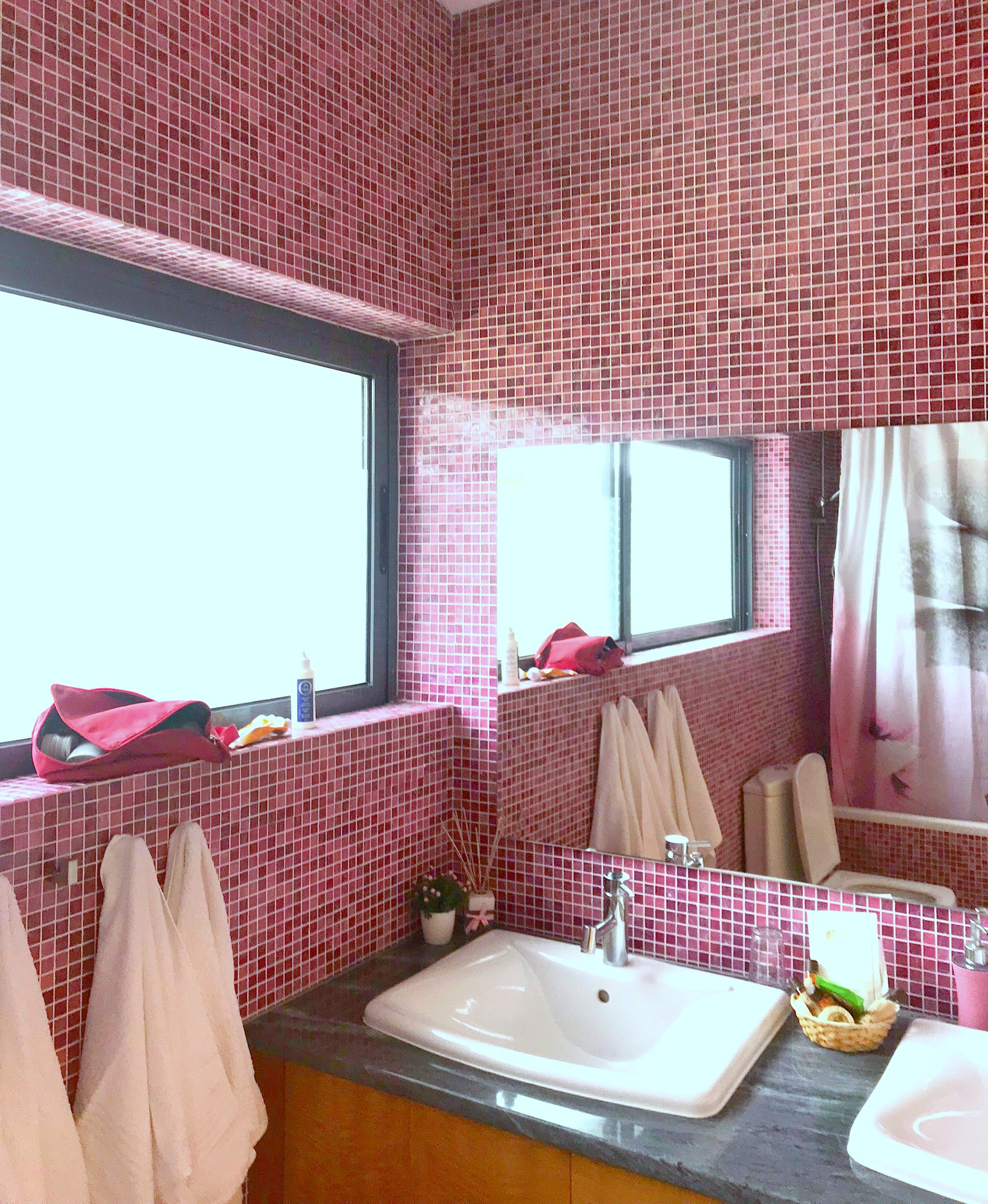 beautiful purple tiled bathroom at Lodge Natur Zen Sao Miguel Azors