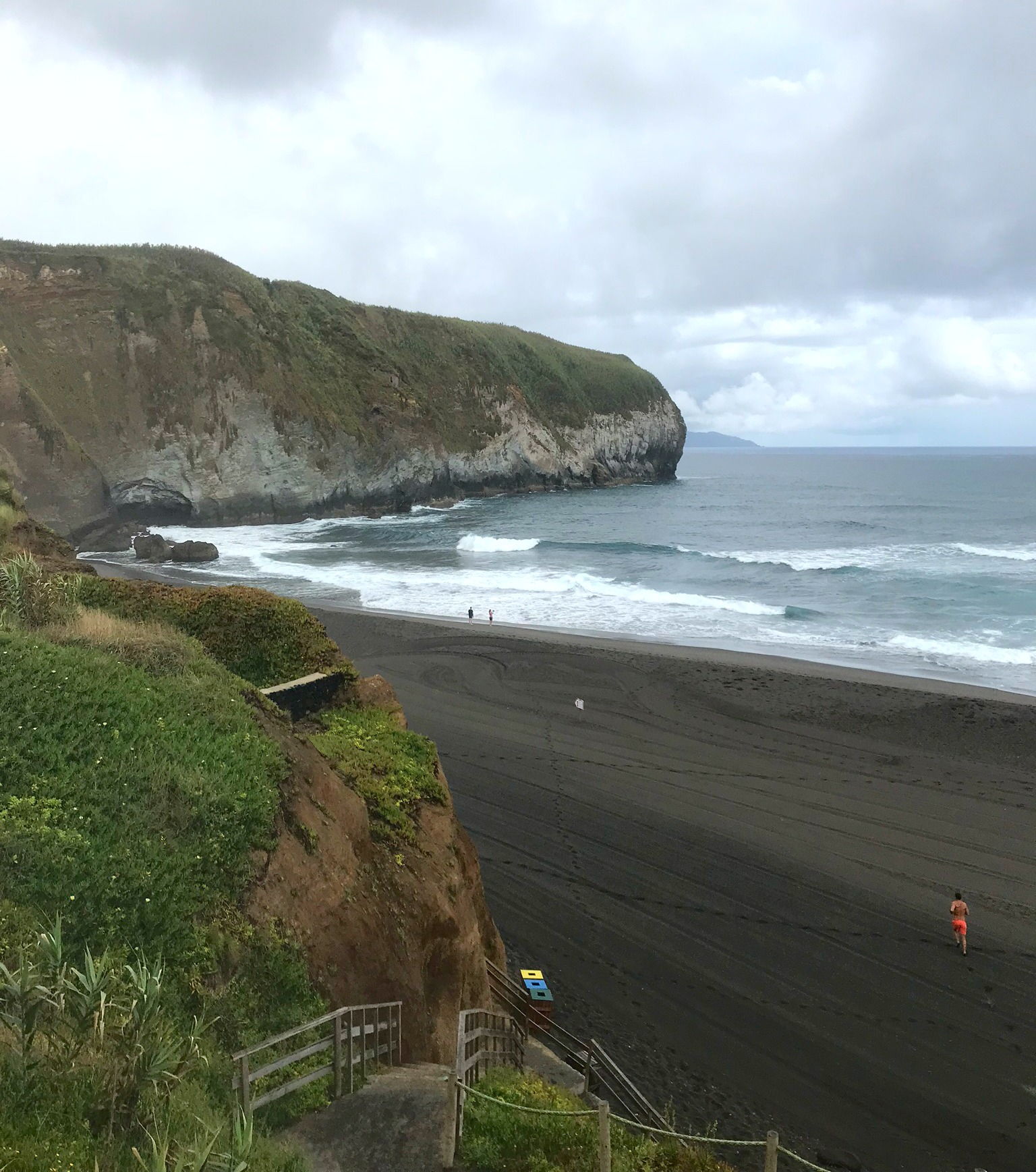 view of Santa Barbara Azores surf break from the cliffs